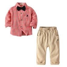 VTOM Baby Sets Kids Suits Boys Bow Tie Long-Sleeved Tops+ Pants 2PCS Children Clothes XN17