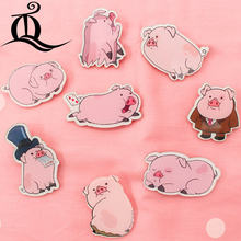 Free shipping 1pcs MIX lovely pig acrylic Accessories Fashion cartoon Brooch Badge Pin Collar brooch Jewelry Gift,Pet cloth Z1(China)