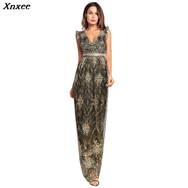 Xnxee backless long dress plus size vestidos jurken glitter black gold vestido longo robe femme ropa