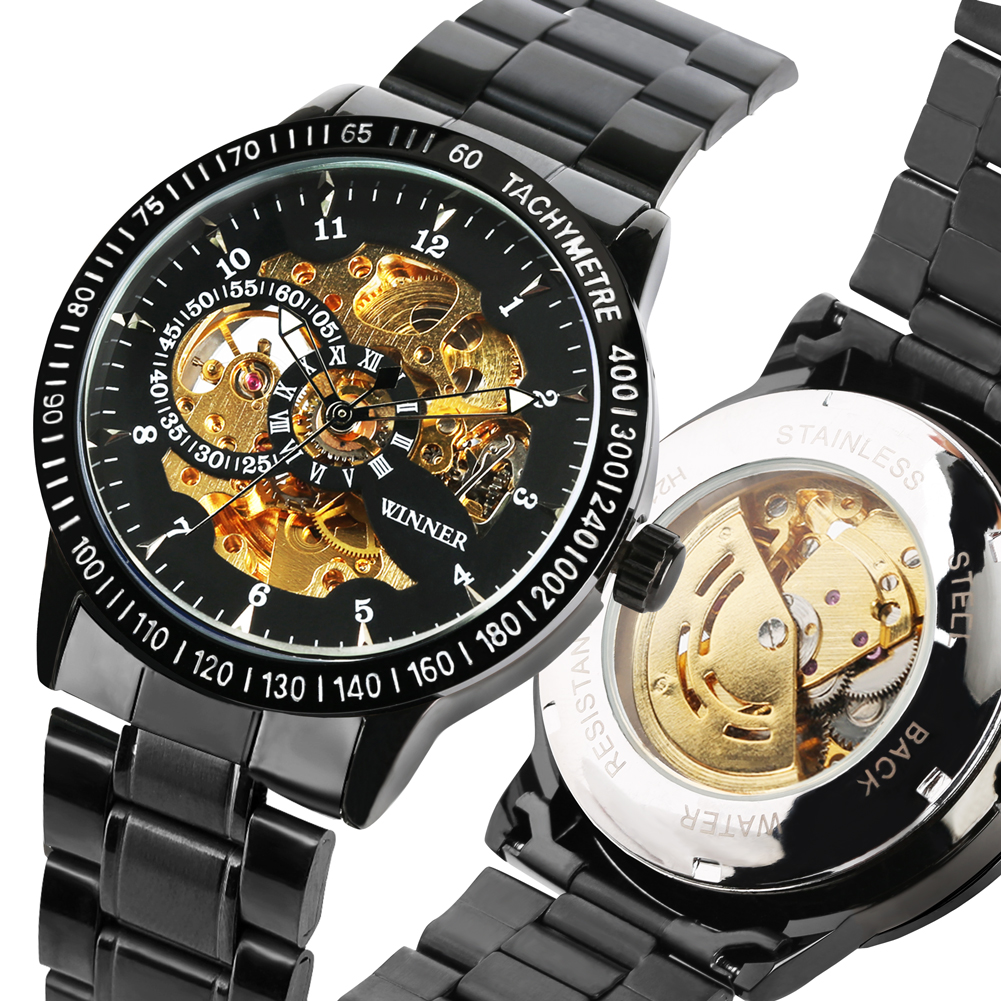 Automatic self winding Watches Business Style Mechanical Watch Stainless Steel Band Men Clock Gift Relogio Automatico Masculino in Mechanical Watches from Watches