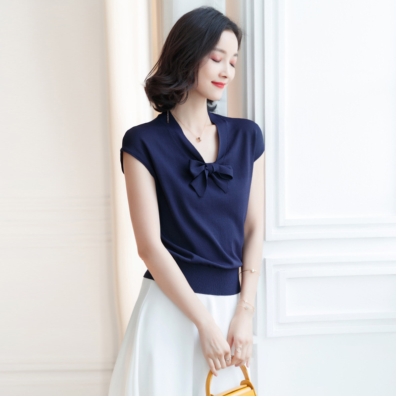 Spring And Summer knitted shirt V neck Bow Pullover Short Sleeve Thin Shirt women summer 2019 F9919 in Pullovers from Women 39 s Clothing