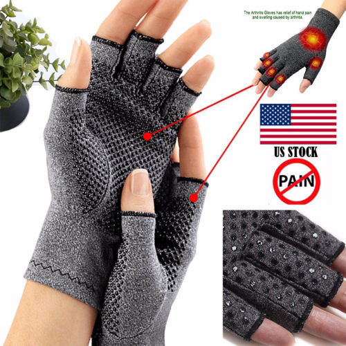 Copper Compression Gloves Carpal Tunnel Arthritis Joint Pain Promote Circulation Hot New Compression Gloves With Rubber Dimples