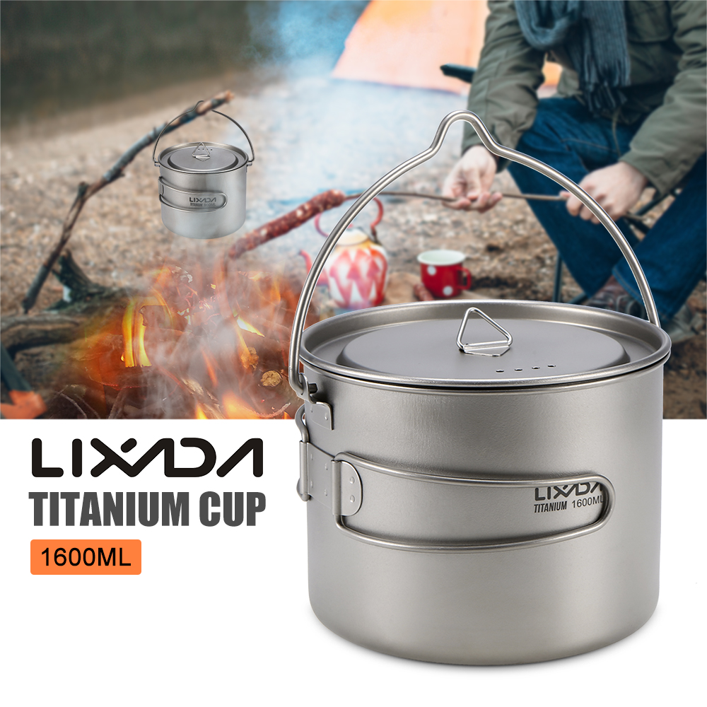 Lixada 900ml / 1600ml Titanium Cup Pot Ultralight Portable Cup Hanging Pot with Lid and Foldable Handle Outdoor Camping Hiking