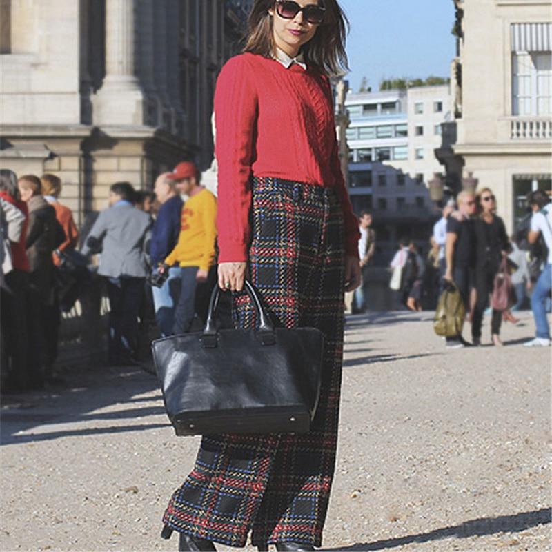 Casual Coton Lattice Pantalon Plaids Plaid Simple Femme Jambe Style Lâche Petit Taille Large Dames Femmes Long Ael Haute twqIpSt