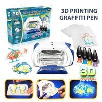 3D drying machine+4pcs 3D pen+4pcs Random Theme Template/set Magic Machine Printer DIY Drawing Kids Gift Machine pen drawing toy