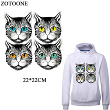 ZOTOONE Iron On Cute Cat Patches For Clothes Hear Transfers Clothing DIY Accessory Applique Thermal Transfer Printer Sticker