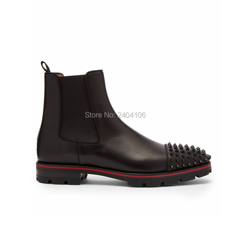 Autumn Winter Western Black Leather Handmade Ankle Men Shoes 2019 Men Boots Mens Rivet Boots  Male Footwear Low-heeled ShoesAutumn Winter Western Black Leather Handmade Ankle Men Shoes 2019 Men Boots Mens Rivet Boots  Male Footwear Low-heeled Shoes