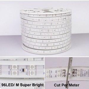 Image 5 - 31 50M dwurzędowe listwy RGB LED 96 leds/m 5050 220V zmienia kolor taśma oświetlająca IP67 wodoodporny sznur oświetleniowy LED + sterowanie Bluetooth na podczerwień
