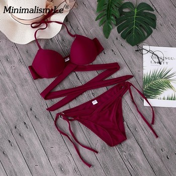2020 Sexy Solid Swimwear Women Bikini Set Swimsuit Halter Top Bikinis Bathing Beachwear Bandage Biquini Mujer Plus Size 3