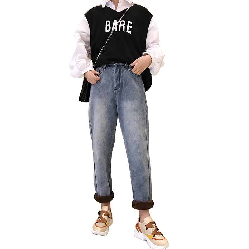 Charitable Pengpious Korean Fashion Style Girls Jeans Boy Friend Fashion Sand Blast Wash Thick Winter Jeans Women Women's Clothing