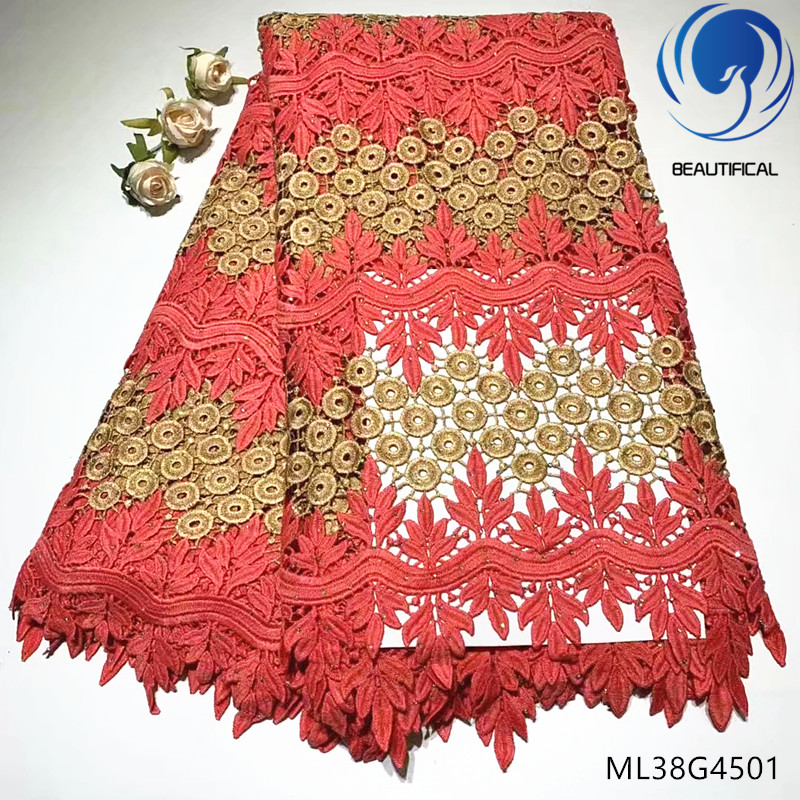 BEAUTIFICAL nigerian lace fabrics guipure lace fabric 5yards african lace fabric with stones online shopping for dresses ML38G45