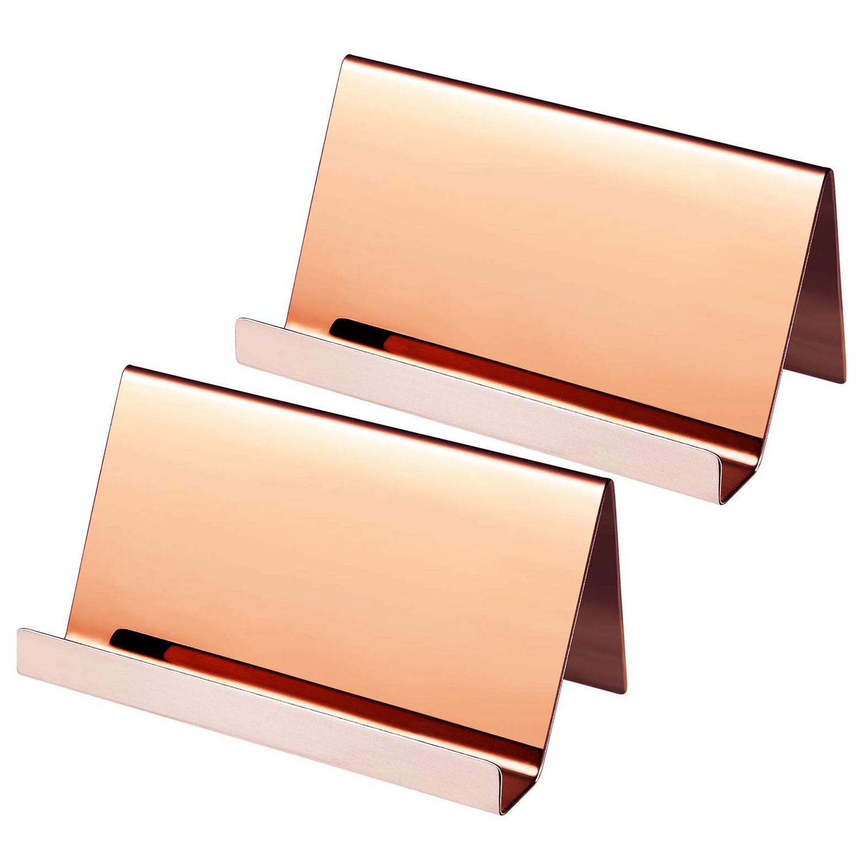 2 Pack Stainless Steel Business Cards Holders Desktop Card Display Business Card Rack Organizer(Rose Gold)