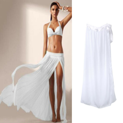 Summer Casual Skirts HOT Women Summer Casual Elastic High Waist Solid Long Split Skirts Summer Swimwear Cover Up Skirts