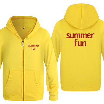 Summer Fun Beach Simple Letter Hoodies Men 2018 Men's Fleece Zipper Cardigans Hooded Sweatshirts