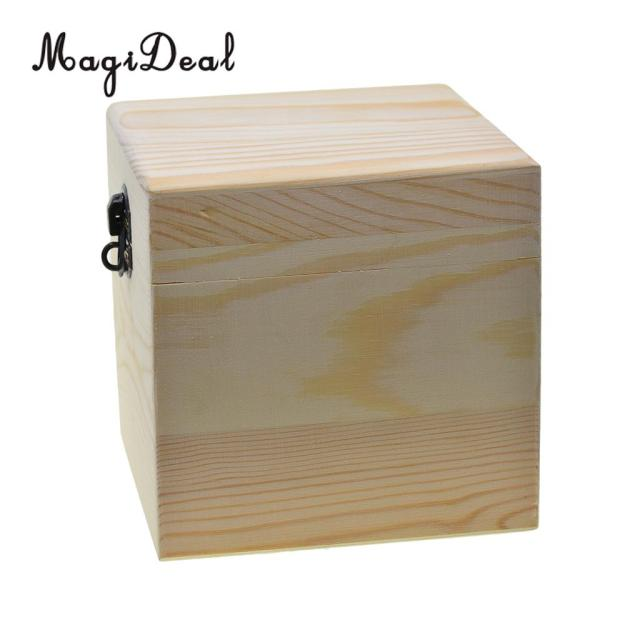 48a1596a1 Large Square Storage Box Plain Wood Box Jewelry Box Wedding Gift Makeup  Cosmetic Small Gadgets Gift Wood DIY Craft Box With Lid
