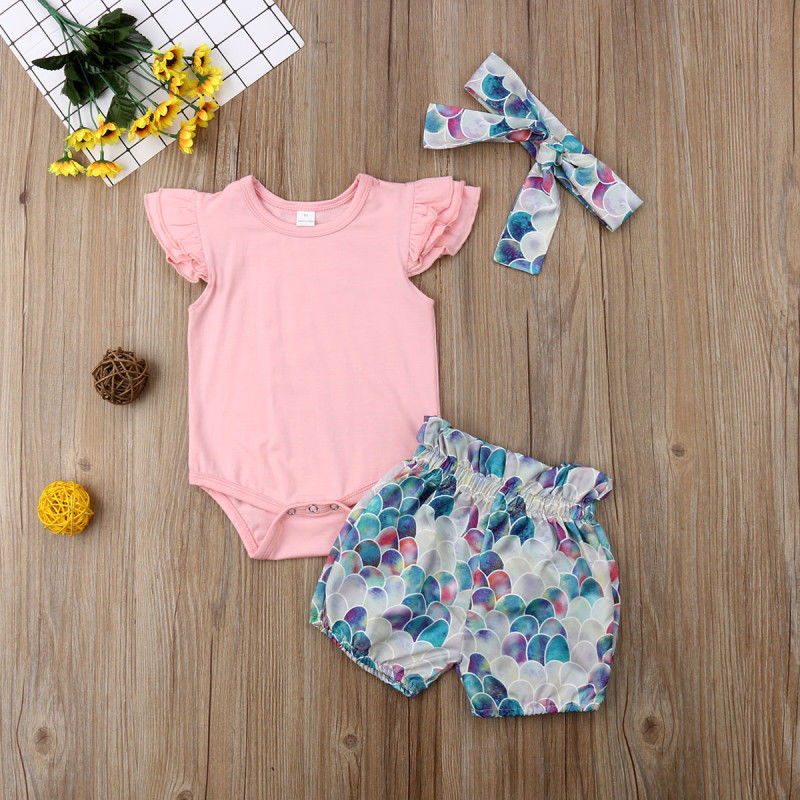 b34e7015f 3Pcs Mermaid Baby Girl Clothes Sleeveless Tops Romper+Pants Shorts+Headband  Newborn Clothes Outfit Summer Infant Clothing 0 24M-in Clothing Sets from  Mother ...