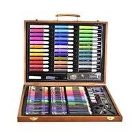 150 pçs ferramentas de pintura caixa grande escova aquarela lápis aguarela criança papelaria conjunto caixa de madeira