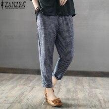 5XL ZANZEA 2019 Women Harem Pants Striped High Waist Long Casual Loose Trousers Pockets Work Femme Pantalon Streetwear Plus Size цена