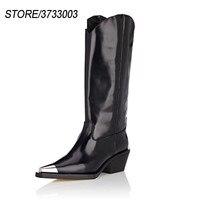 Новые осенние ботинки martin до середины икры на толстом квадратном каблуке с металлическим острым носком, тонкие высокие ботинки, женские мот