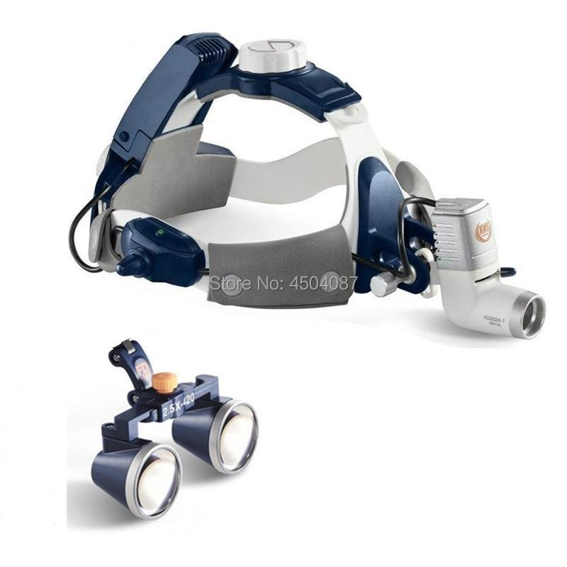 2.5X420 milímetros Lupa Dental Médica Lupas Cirúrgicas Lupas Binoculares Médica + 5W LED Medical Farol Farol 2 bateria