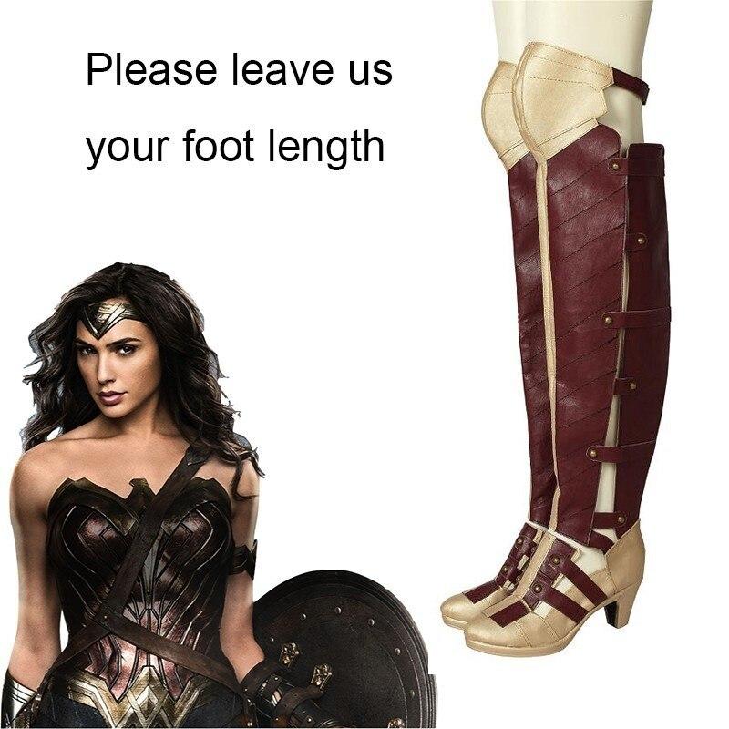 Wonder Woman Diana Cosplay Boots Halloween Cosplay Shoes Superhero Women Cosplay Costume Accessories Adult Knee High