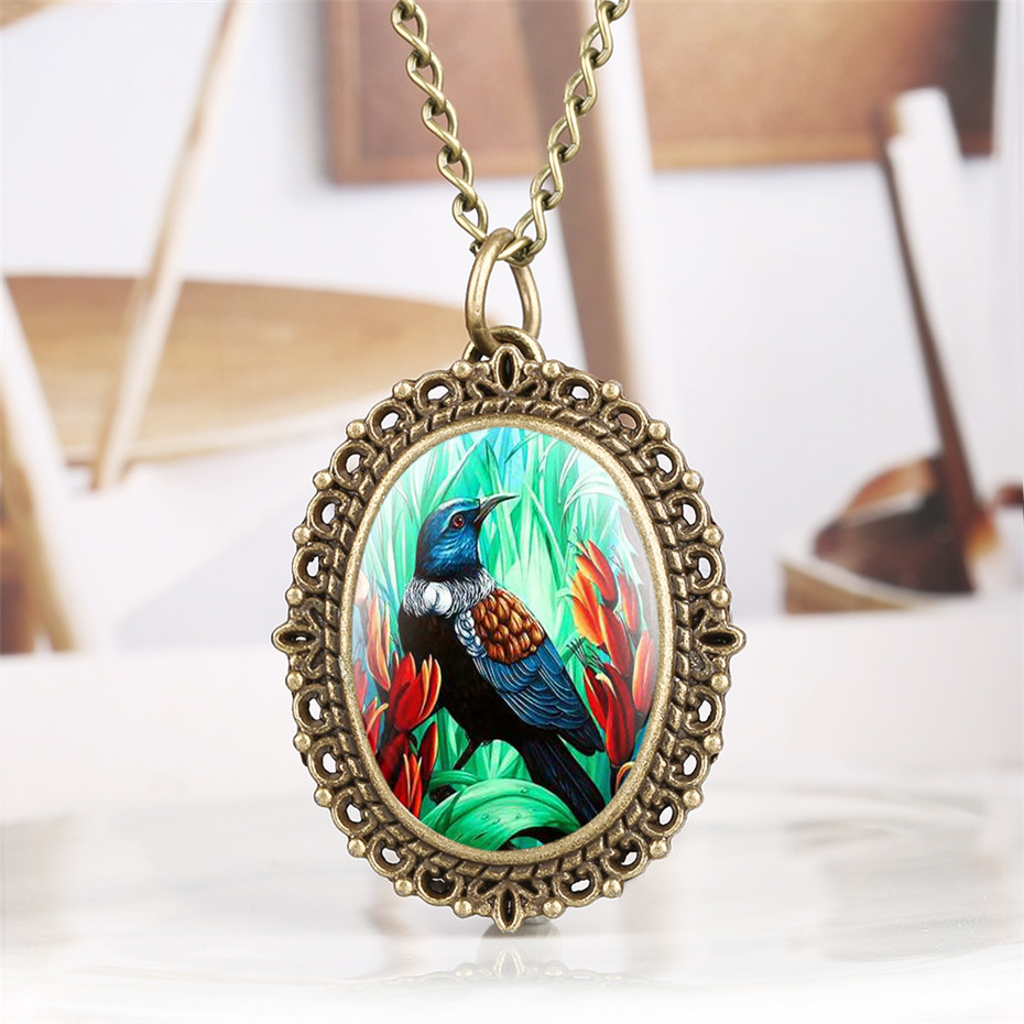 Bronze Exquisite Quartz Pocket Watch Tropical Jungle Animals Bird Display Pendant Fob Watch Retro Pendant Clock Gifts Lady