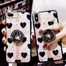 ins hearts Luxury Crystal stand gold foil jelly Case Back Cover Shell For iPhoneXs max 8plus 6s 7Plus XR Body Skin Protector