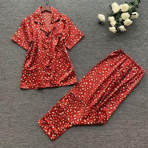 Image 1 - 2019 wiosna kobiety śliczne zestawy piżam z spodnie Satin Pijama kwiat drukuj piżama Nightsuit jedwabna bielizna nocna Pijama Homewear