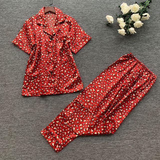 2019 wiosna kobiety śliczne zestawy piżam z spodnie Satin Pijama kwiat drukuj piżama Nightsuit jedwabna bielizna nocna Pijama Homewear
