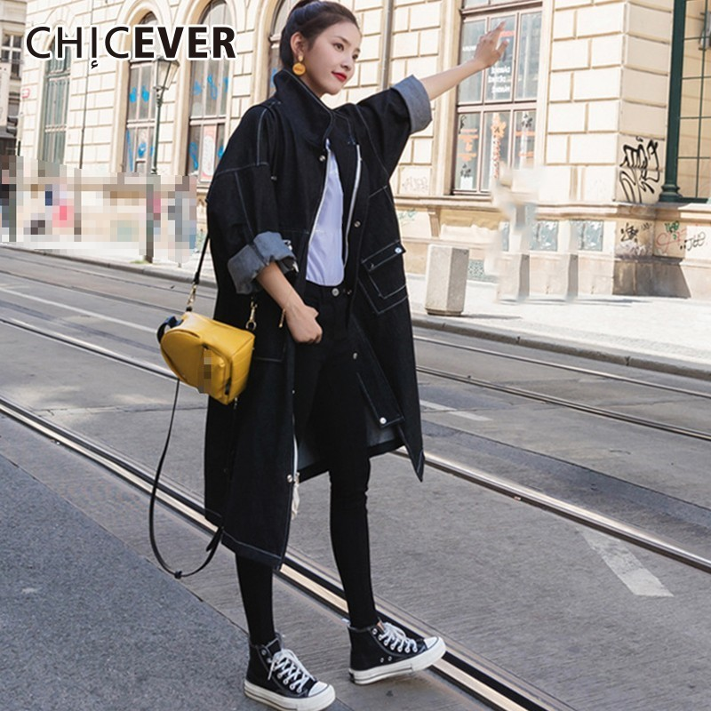 CHICEVER Denim Trench Coat For Women's Windbreaker Lapel Long Sleeve Single Breasted Loose Oversize Trench Female Fashion Tide