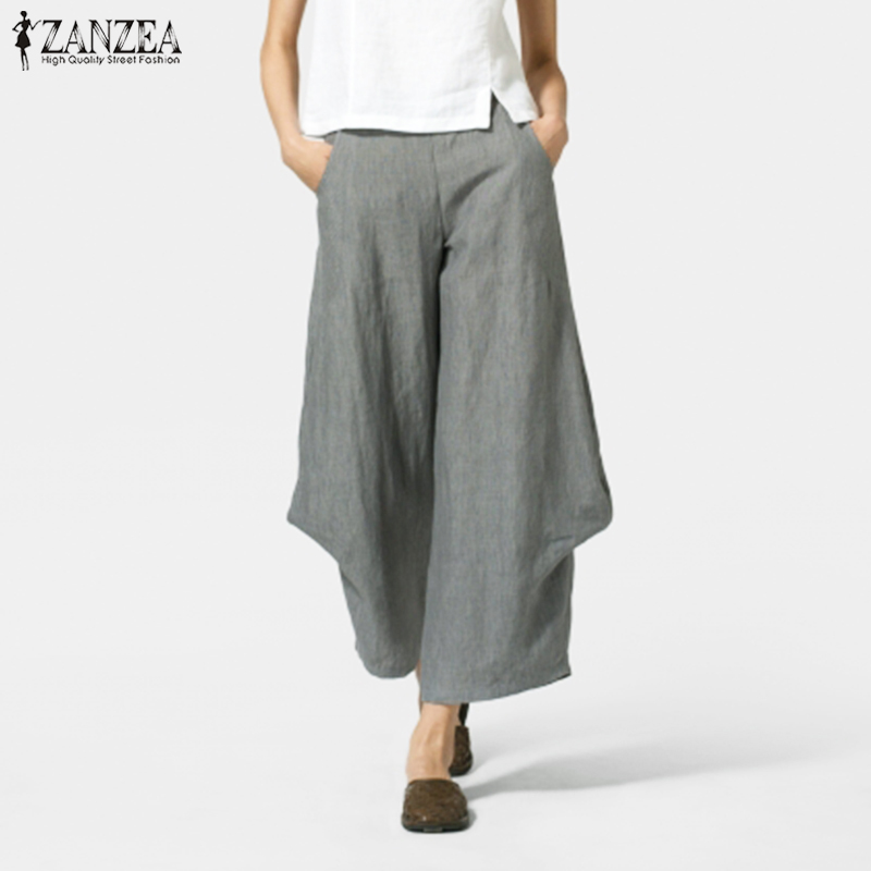 Plus Size   Wide     Leg   Trousers ZANZEA 2019 Women Summer   Pants   Elastic Waist Female Ruffle Pantalon Femme Vintage Solid Turnip   Pants