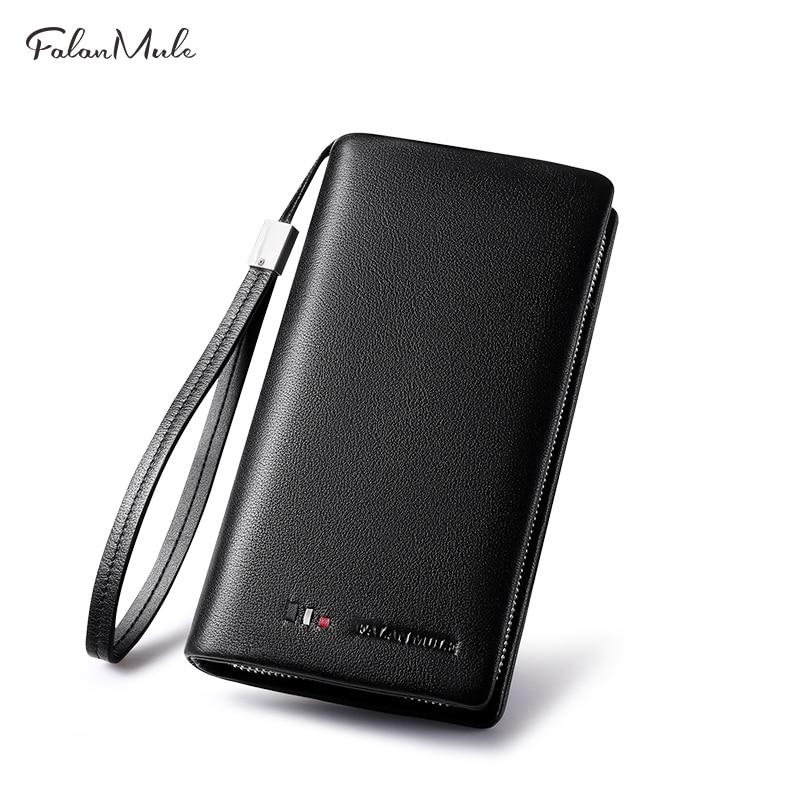 FALAN MULE Wallet Fashion Male Clutch Genuine Leather Men Wallet Luxury Purse Leather Wallet Men Clutch Bag Phone Card Holder цена 2017