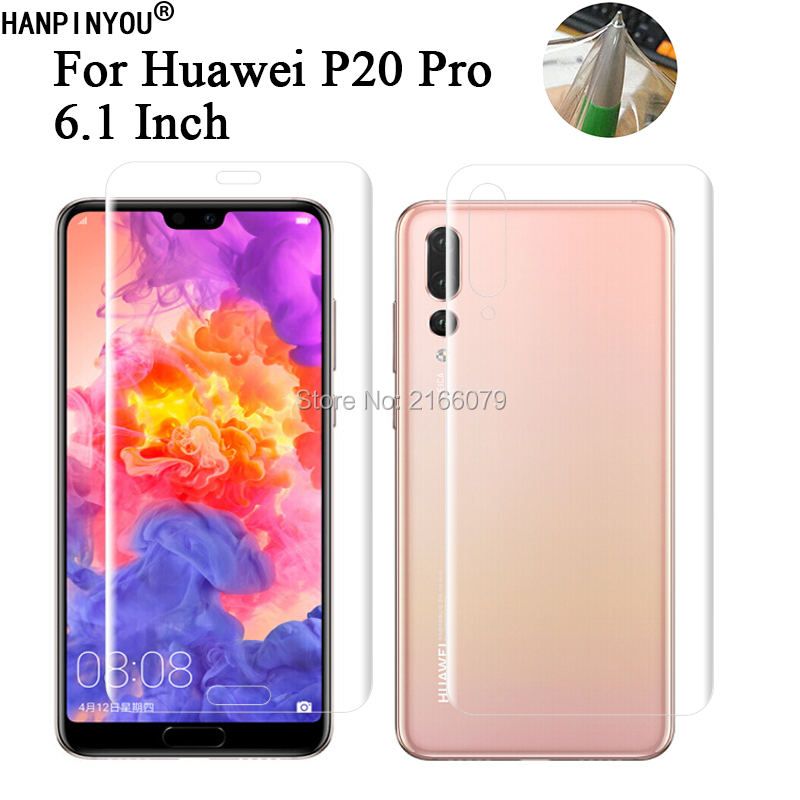 For Huawei P20 Pro 6.1 Soft TPU Front Back Full Cover Screen Protector Transparent Protective Film + Clean Tools