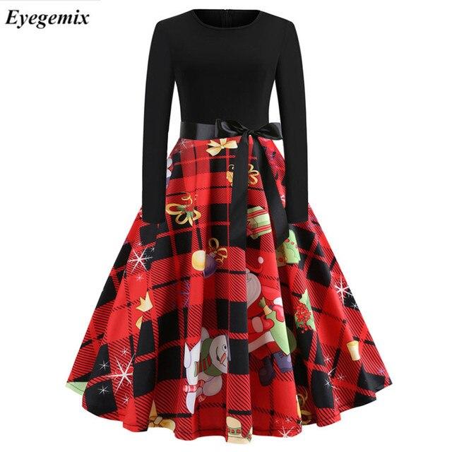 Vintage Print Christmas Dress Women Fashion Winter Long Sleeve Party Dress  Plus Size Elegant Swing Bodycon Robe Femme Vestidos 34f2daa9b9ba