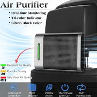 Auto Car Air Purifier USB Cleaner Ionic HEPA Filter Remove Cigarette Smoke Smell Anion Car Air Ionizer Household Sterilize