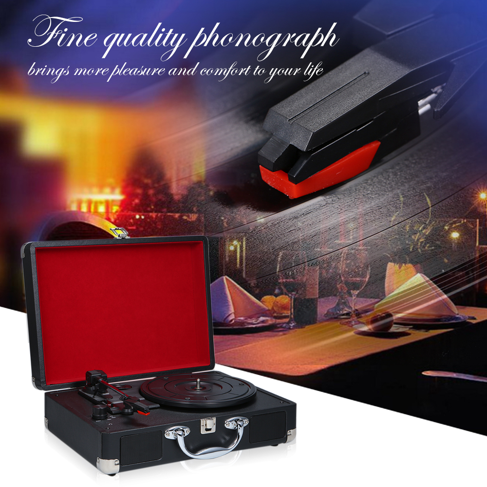 Portable Turntable Player with Speakers Vintage Phonograph Record Player Stereo Sound Turntables for 180 200 300mm
