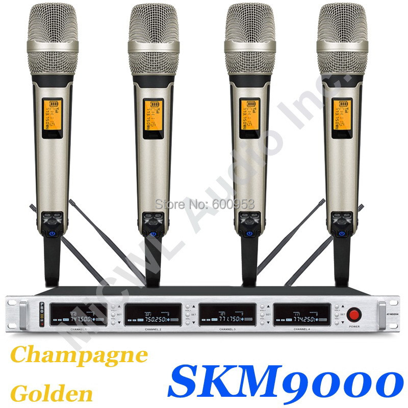 MiCWL Pro SKM9000 400 Channel Wireless Microphone System 4 Champagne Gold Color Limited Edition 4 Beige Headset 4 Lavalier LapelMiCWL Pro SKM9000 400 Channel Wireless Microphone System 4 Champagne Gold Color Limited Edition 4 Beige Headset 4 Lavalier Lapel