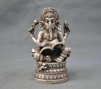 Chinese Tibet Silver Buddhism Elephant Ganesha God Of Wealth Write Word Statue