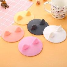 Пищевого силикона кошачьи уши-формы термостойкие силиконовые крышки чашки чаша для кофе анти-пылезащитные крышки для чайная чашка с крышкой