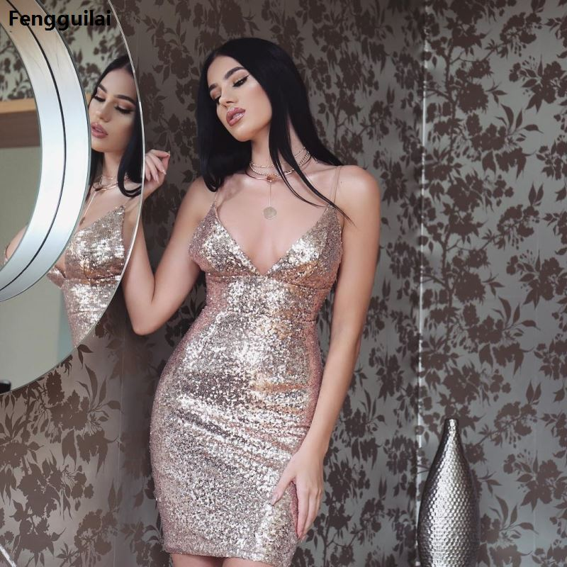 2019 Long Beaded Formal Prom Bridal Party Dresses Wedding Gown gold Short Sleeves V neck Sequins shiny short sexy dress