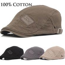 Мужская одноцветная хлопковая кепка для гольфа, летняя кепка для вождения, плоская кепка для газетчиков