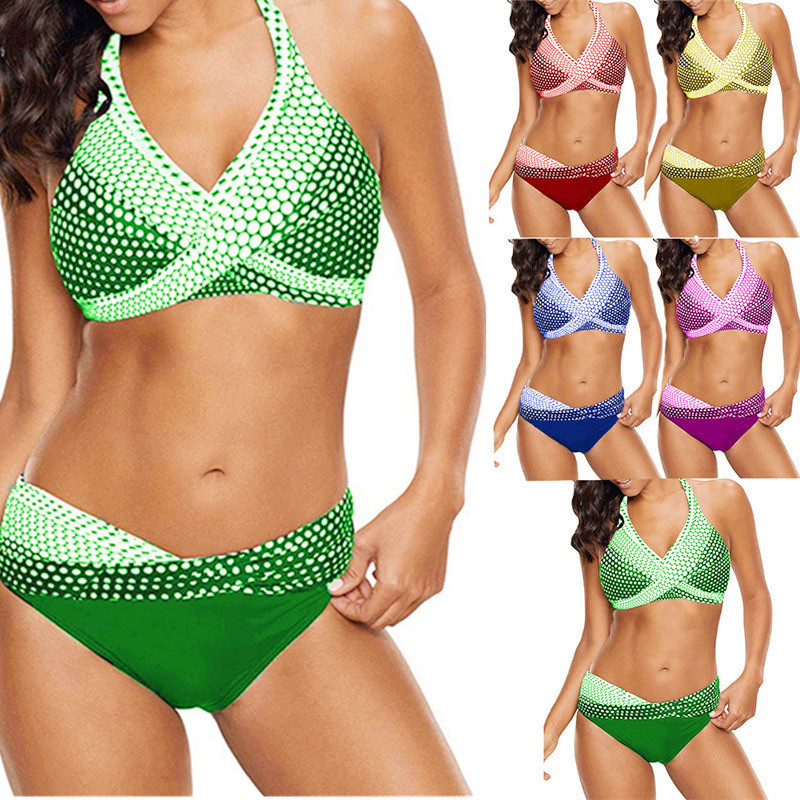 2019 Fashion S - 5xl Plus Size Polka Dot Bikinis Set Two-piece Brazilian 2019 Swimming Suits For Female Neon Twist Swimsuit Halter Bandage Finely Processed
