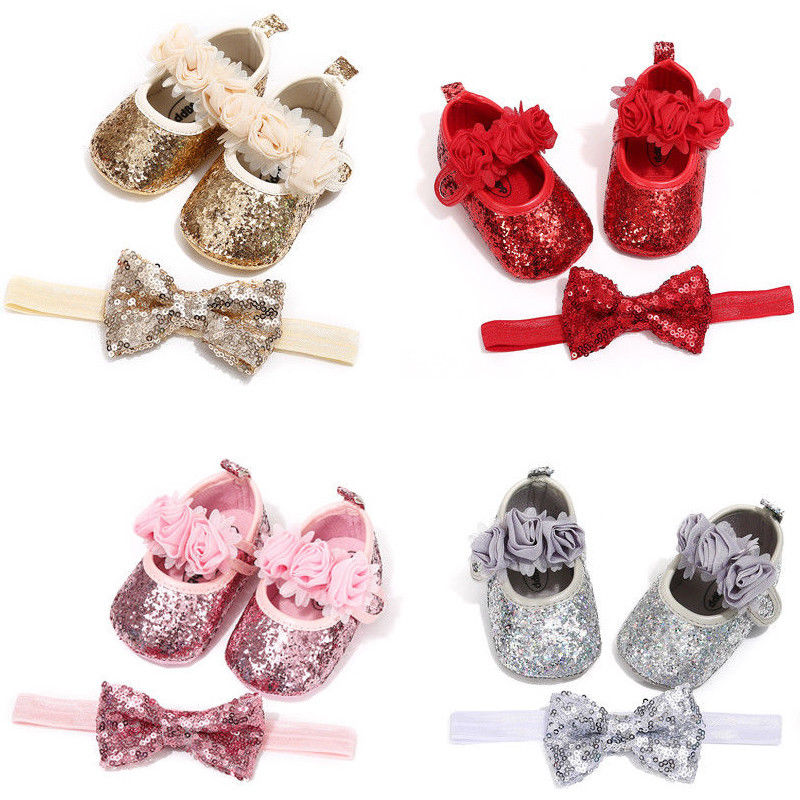 Bowknot Sequins Baby Girls Shoes Infant Newborn Princess Shoes First Walkers + Hairband Baby Girl Birthday Party Shoes