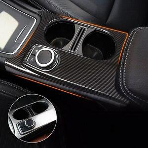 Image 2 - Dla Mercedes Benz GLA CLA klasa W176 X156 C117 ABS chrom/tekstury z włókna węglowego konsoli środkowej samochodu wody uchwyt na kubek pokrywa