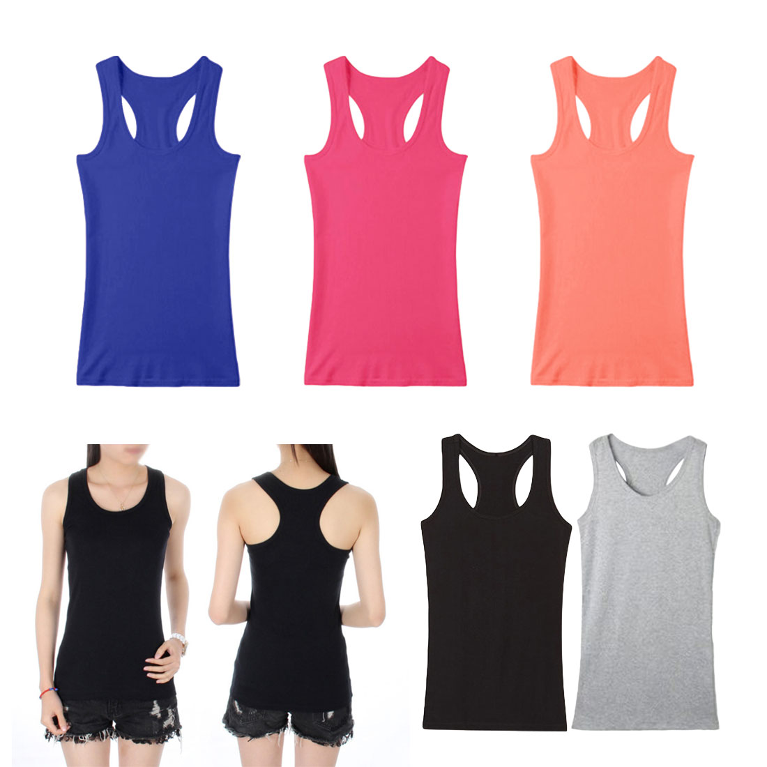 Image 3 - Cotton Fabrics Women Tank Top Comfortable Breathable Sport Vest Female Slim Hem Camisole Casual Basic Style Sleeveless Tops Tee-in Tank Tops from Women's Clothing