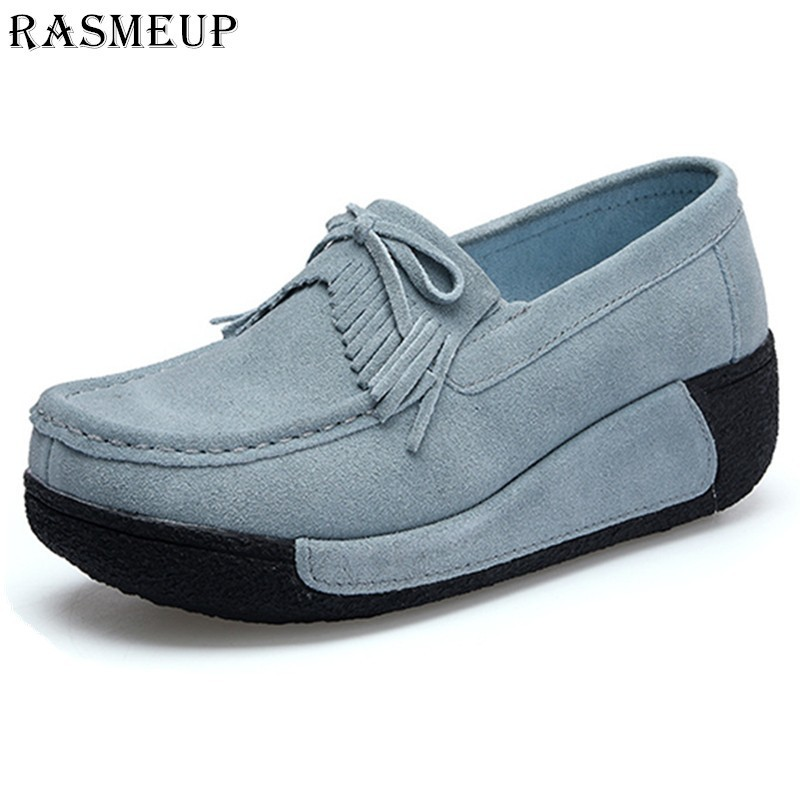 RASMEUP Women's Platform Flat Loafers Genuine Suede Leather Platform Women Moccasins Creepers Tassel Woman Slip On Casual Shoes genuine suede leather women s platform sneakers 2018 women slip on flats creepers moccasins woman casual shoes black pink gray
