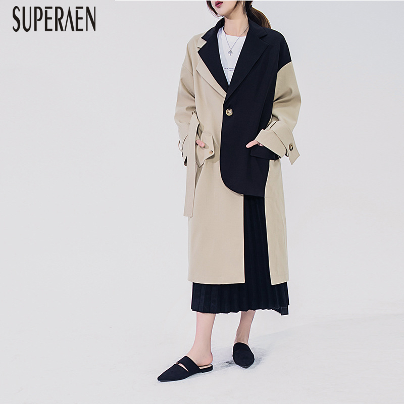 SuperAen 2019 New Spring   Trench   Coat for Women Long Sleeve Wild Casual Ladies Windbreaker Korean Style Women Clothing