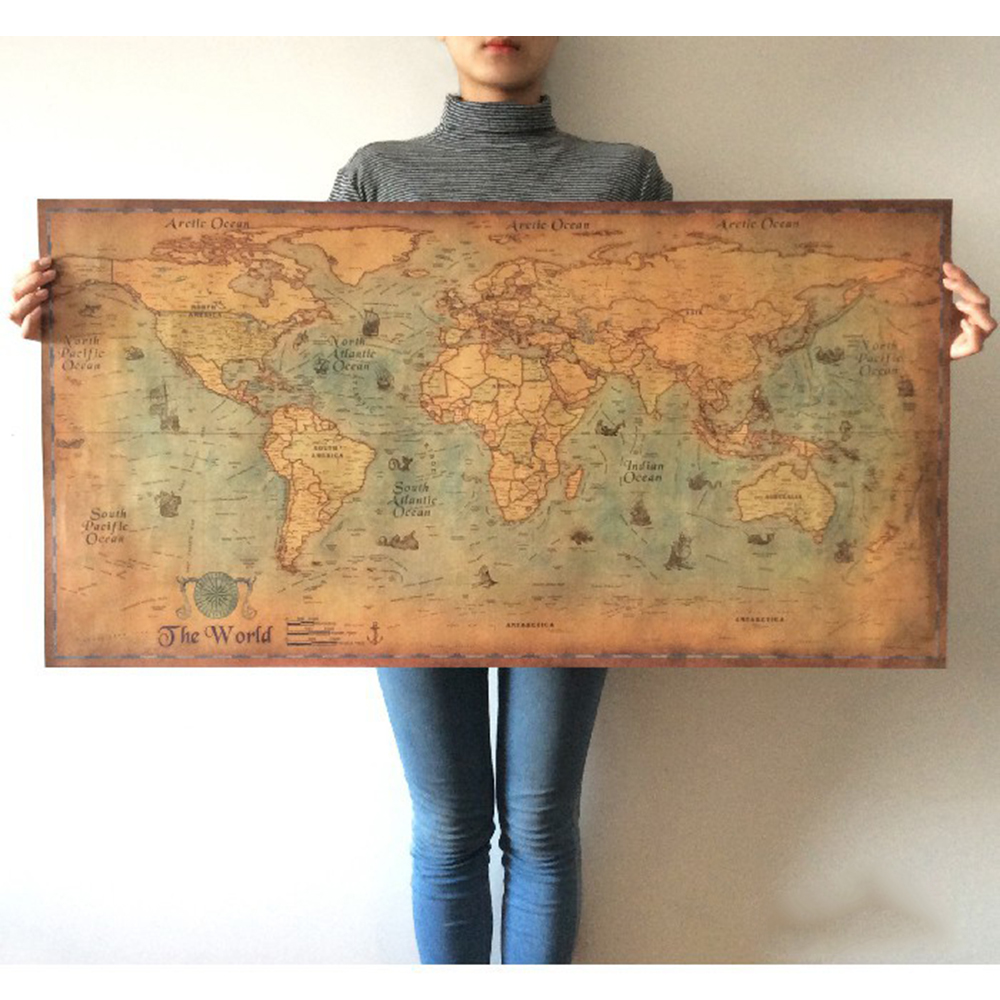 New Nautical Ocean Sea world map Retro old Art Paper Painting Home Decor Sticker Living Room Poster Cafe Antique poster Sticker
