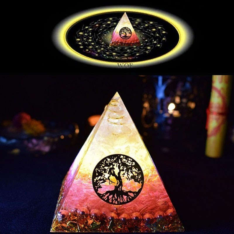 AURA REIKI Orgonite Pyramid Ariel Maripura/Sahasrara Chakra Love Crystal Bring Lucky Stone Resin Pyramid Crafts Ornaments C0145