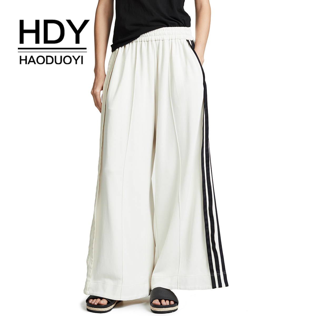 HDY Haoduoyi Euramerican Fashion New Style  Popular Simple Locomotive Wind Contrast Color Stripe Striped Sweatpants Pants White